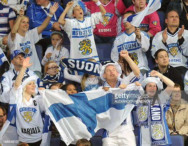 Finnish supporters celebrate a goal during the preliminary round game Finland vs Austria at the IIHF International Ice Hockey World Championship in...