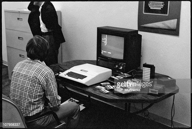 FinnishAmerican businessman Mike Markkula sits at a desk in front of an Apple II computer in April 1977 Markkula was one the first investors Apple...