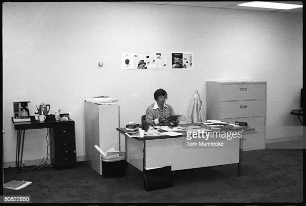 FinnishAmerican businessman Mike Markkula sits at his desk April 1977 Markkula was one the first investors Apple Inc and its second CEO