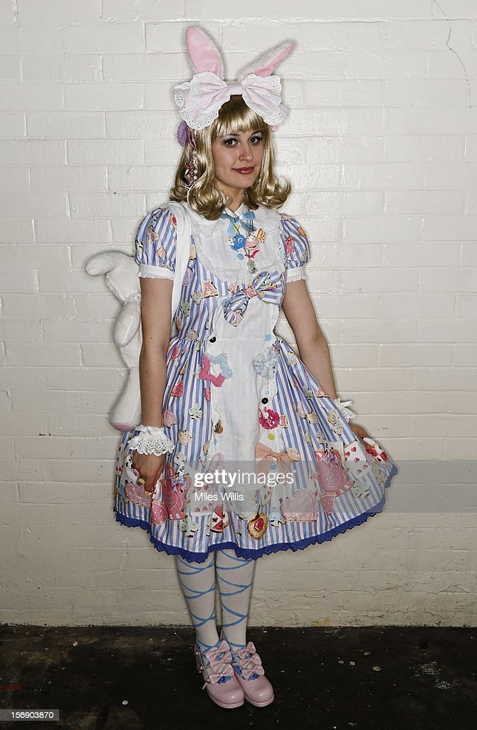 Finny Attridge from Hampshire in 'Sweet Lolita' fashion attends Hyper Japan at Earl's Court on November 24, 2012 in London, England. Hyper Japan is the UK biggest Japanese Culture event with many of the visitors dressing as cosplay, anime and manga Characters.