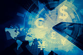 FinTech, financial technology and world economy, abstract image visual