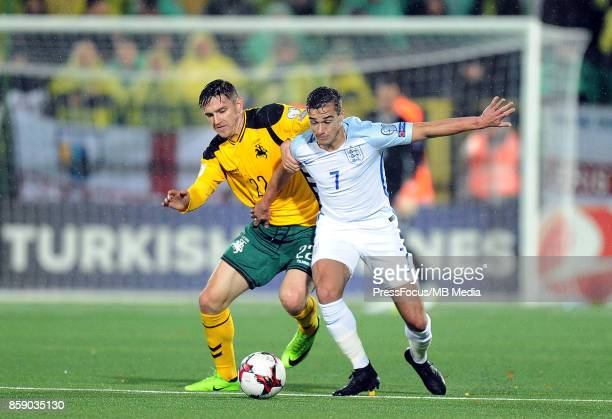 Fiodor Cernych and Harry Winks during the FIFA 2018 World Cup Qualifier between Lithuania and England on October 8 2017 in Vilnius Lithuania