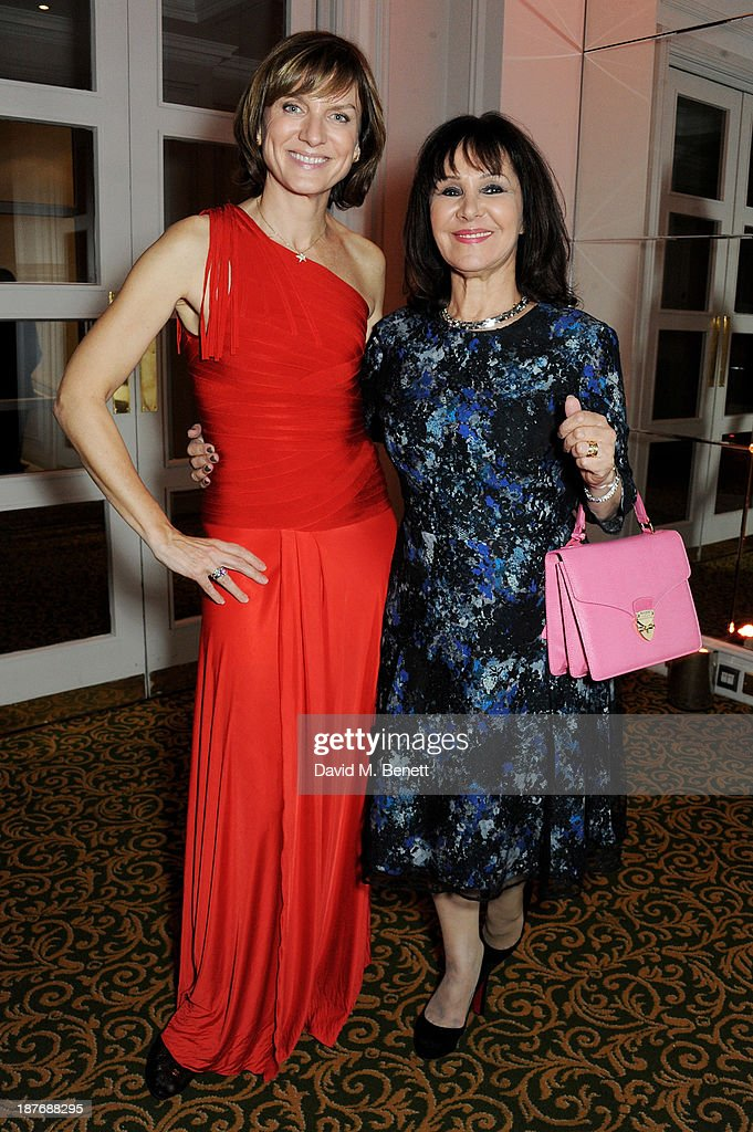 Fiona Bruce (L) and Arlene Phillips attend the BBC Children in Need Gala hosted by Gary Barlow at The Grosvenor House Hotel on November 11, 2013 in London, England.
