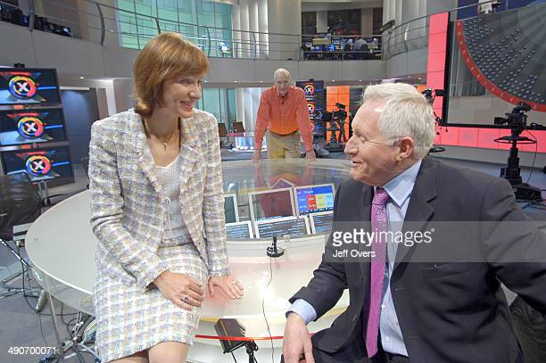 Fiona Bruce and David Dimbleby in during rehearsals in the BBC Election 2005 studio