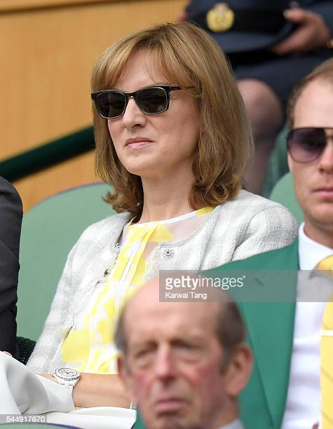 Fiona Bruce attends day eight of the Wimbledon Tennis Championships at Wimbledon on July 04 2016 in London England