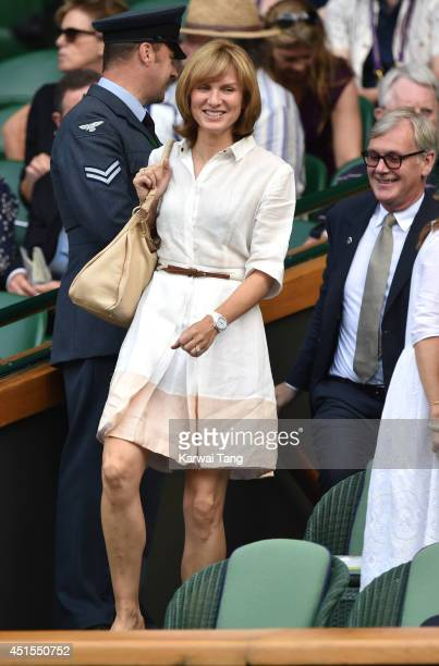 Fiona Bruce attends the Angelique Kerber v Maria Sharapova match on centre court during day eight of the Wimbledon Championships at Wimbledon on July...