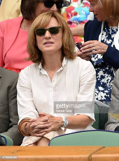 Fiona Bruce attends the Philipp Kohlschreiber v Novak Djokovic match on day one of the Wimbledon Tennis Championships on June 29 2015 in London...