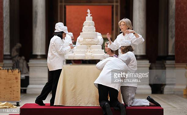 Fiona Cairns and her staff put the finishing touches to the Royal wedding cake that she and her team made for Prince William and Kate Middleton in...