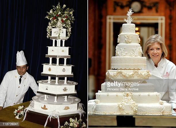 In this composite image a comparison has been made between the Royal Wedding cakes of Prince Charles Prince of Wales and Lady Diana Spencer and that...