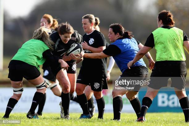 Fiona Coghlan in action during the Women's Barbarians training session on November 9 2017 in Limerick Ireland