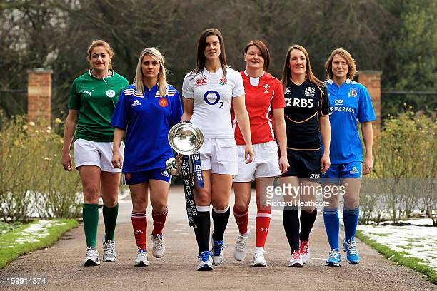 Fiona Coughlan of Ireland Marie Alice Yahe of France Sarah Hunter of England Rachel Taylor of Wales Susie Brown of Scotland and Silvia Gaudino of...