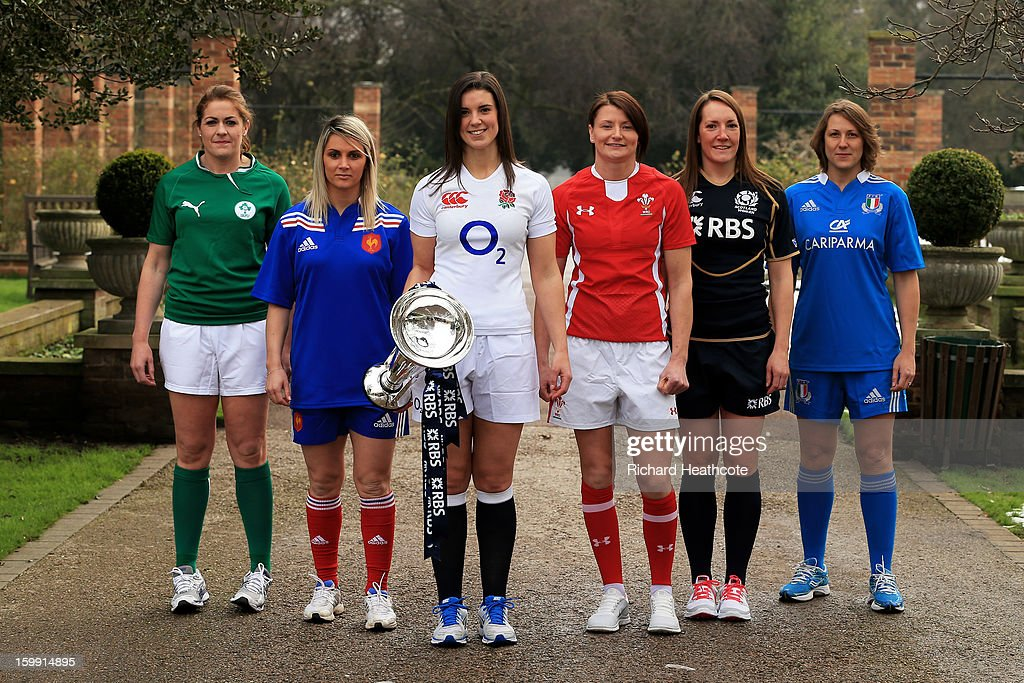 Fiona Coughlan of Ireland, Marie Alice Yahe of France, Sarah Hunter of England, Rachel Taylor of Wales Susie Brown of Scotland and Silvia Gaudino of Italy pose with the Women's Six Nations trophy during the RBS Six Nations launch at The Hurlingham Club on January 23, 2013 in London, England.