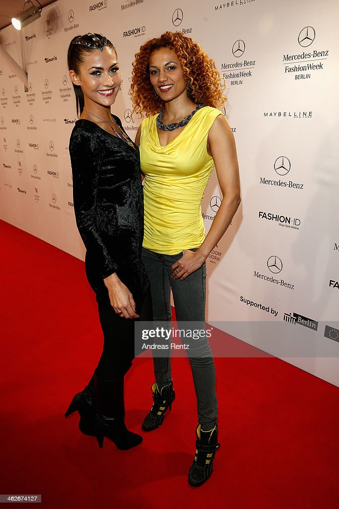 Fiona Erdmann and Francisca Urio attend the Riani show during Mercedes-Benz Fashion Week Autumn/Winter 2014/15 at Brandenburg Gate on January 14, 2014 in Berlin, Germany.
