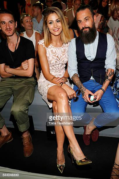 Fiona Erdmann and Tobias Bojko attend the Irene Luft show during the MercedesBenz Fashion Week Berlin Spring/Summer 2017 at Erika Hess Eisstadion on...