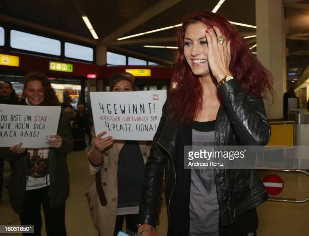 Fiona Erdmann arrives at Tegel airport after spending two weeks in the Australian Outback on January 29 2013 in Berlin Germany The German celebrity...