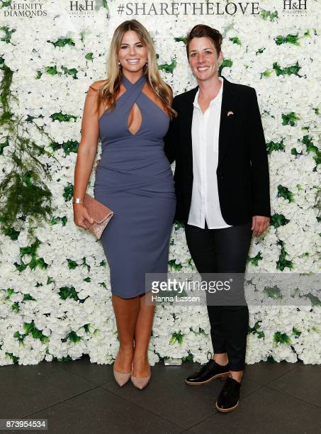 Fiona Falkiner and Lara Creber arrive ahead of the Affinity Diamonds HH Collection Launch on November 14 2017 in Sydney Australia