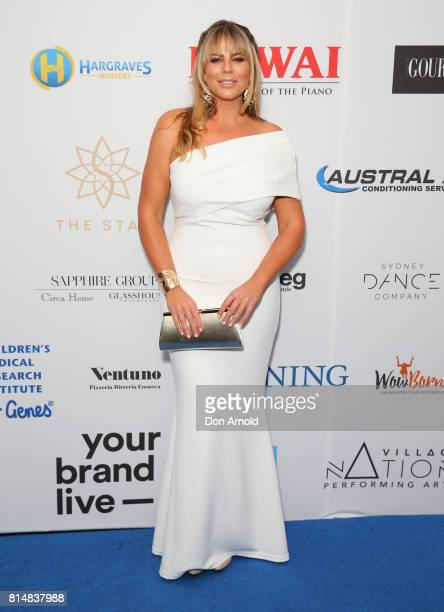 Fiona Falkiner arrives ahead of the Jeans For Genes Denim Dinner at The Star on July 15 2017 in Sydney Australia