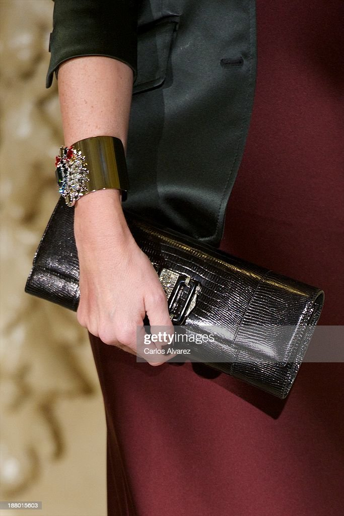 Fiona Ferrer (bag detail) attends the Ralph Lauren Dinner Charity Gala at the Casino de Madrid in on November 14, 2013 in Madrid, Spain.