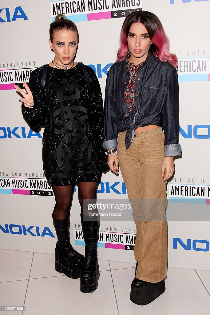 Fiona Fitzpatrick (L) and Rebecca Scheja of Rebecca & Fiona attend the 40th Anniversary of American Music Awards Electronic Dance Music Celebration held at the Club Nokia on November 16, 2012 in Los Angeles, California.