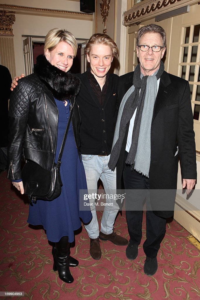 Fiona Golfar, Freddie Fox and Robert Fox attend the press night for 'The Judas Kiss' at Duke of York's Theatre on January 22, 2013 in London, England.