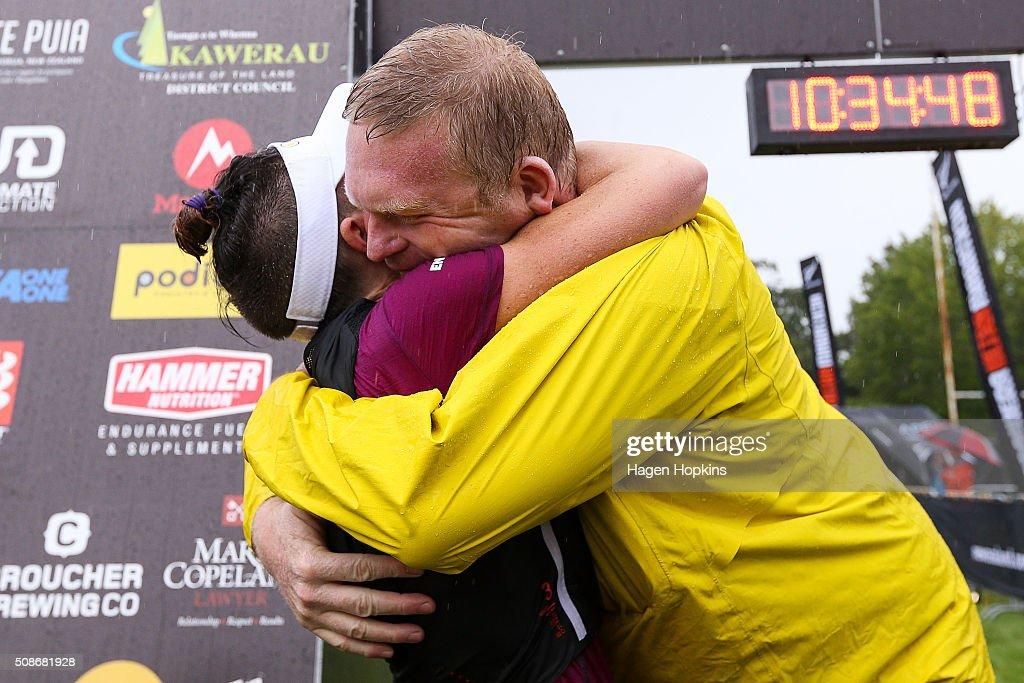 Fiona Hayvice of New Zealand celebrates with organiser Paul Charteris during the Tarawera Ultramarathon on February 6, 2016 in Rotorua, New Zealand.