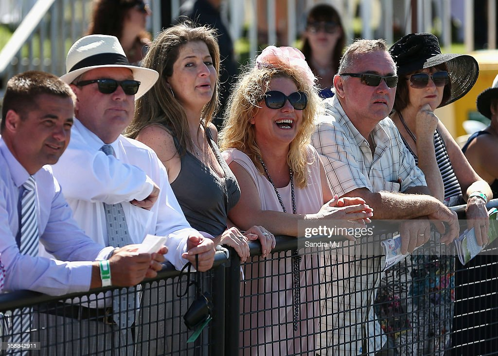 Fiona Lomu and Kerre Woodham (C) are seen during the New Zealand Bloodstock Royal Stakes at Ellerslie Racecourse on January 1, 2013 in Auckland, New Zealand.