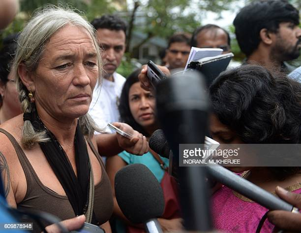 Fiona MacKeown the mother of murdered British schoolgirl Scarlett Keeling is surrounded by media as she leaves the Childrens Court in Panaji on...