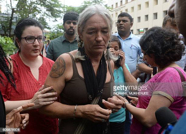 Fiona MacKeown the mother of murdered British schoolgirl Scarlett Keeling looks on as she leaves the Childrens Court in Panaji on September 23 2016 A...
