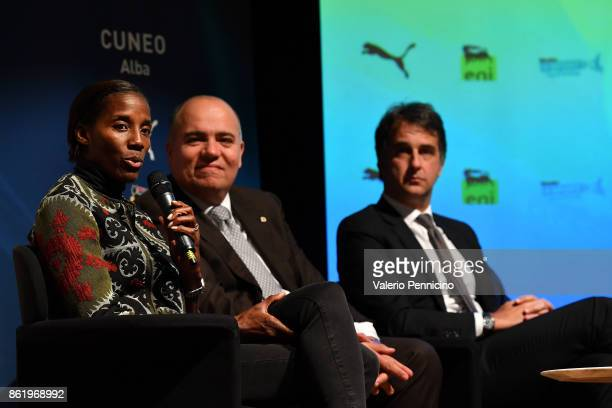 Fiona May attends during the Italian Football Federation Unveils New Regional Federal Training Center In Alba at Auditorium Fondazione Ferrero on...