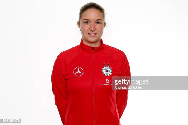 Fiona Rueckert poses during Germany U17 Girl's Team Presentation on August 20 2017 in Gruenberg Germany