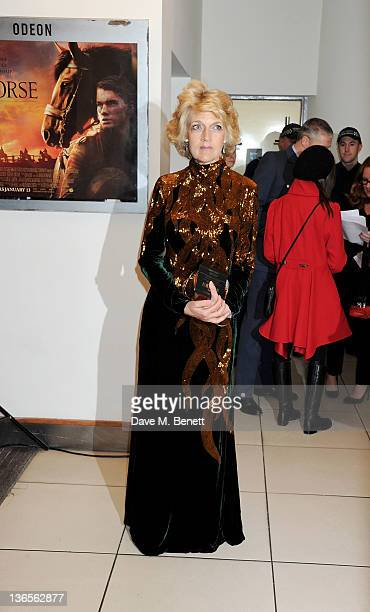 Fiona Shackleton arrives at the UK Premiere of 'War Horse' at Odeon Leicester Square on January 8 2012 in London England