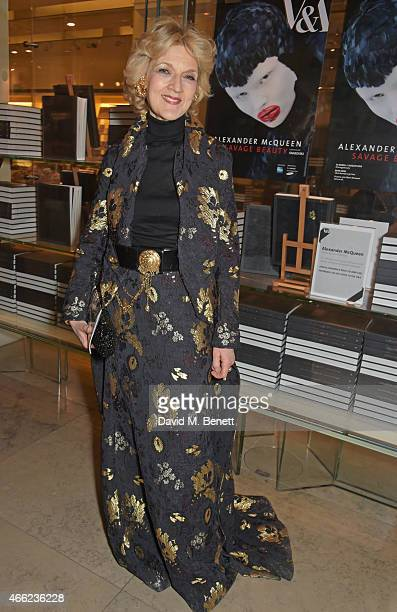 Fiona Shackleton attends the Alexander McQueen Savage Beauty VIP private view at the Victoria and Albert Museum on March 14 2015 in London England