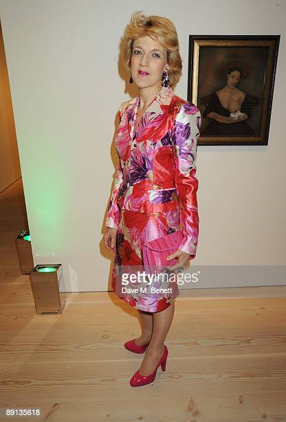 Fiona Shackleton attends the Grand Opening of Bryan Adams 'Hear The World Ambassadors' Exhibition at the Saatchi Gallery on July 21 2009 in London...