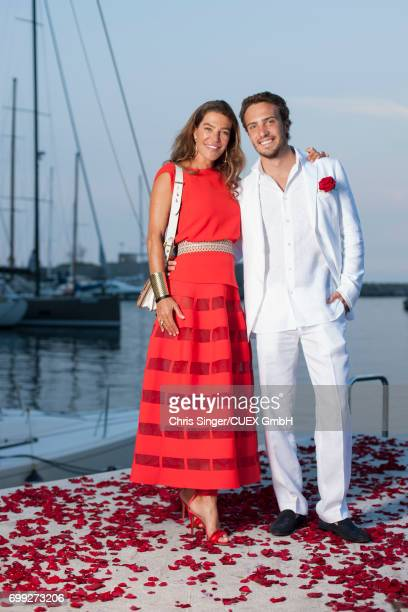 Fiona Swarovski and her son Nicolas Pacifico Griffini attend the wedding of Victoria Swarovski and Werner Muerz on June 15 2017 in Trieste Italy