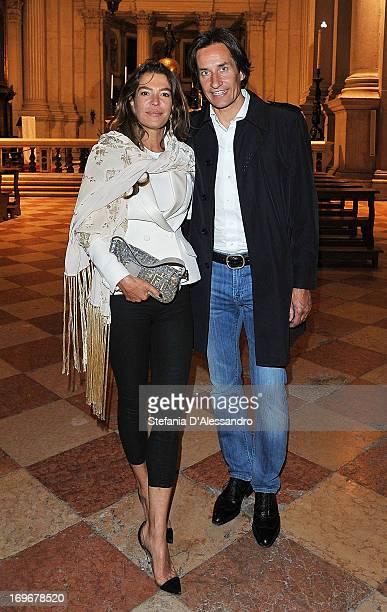 Fiona Swarovski and Karl Heinz Grasser attend Swarovski Foundation and John Pawson Perspectives Cocktail Party at Basilica di San Giorgio on May 30...
