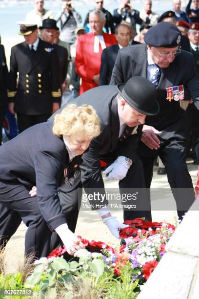 Fiona Symon chairwoman of the Lancastria Association of Scotland lays the wreath at the Lancastria memorial Saint Nazaire