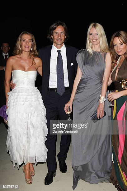 Fiona Winter Swarovski Karl Heinz Grasser and Claudia Schiffer attend the Official Dinner during the 65th Venice Film Festival held at the Excelsior...