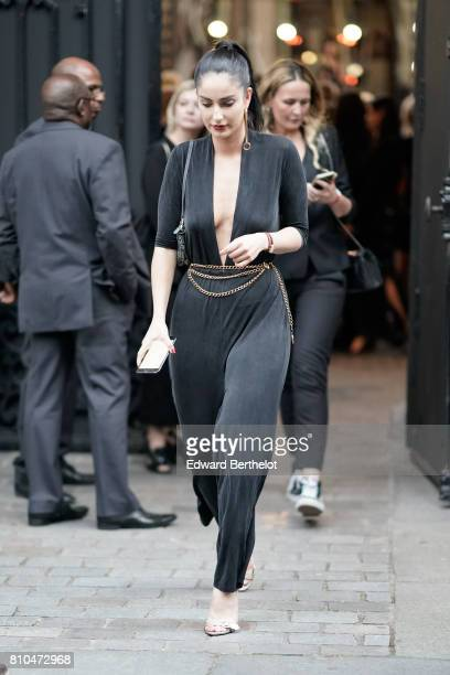 Fiona Zanetti wears a black top black pants outside the Vogue Foundation Dinner during Paris Fashion Week Haute Couture Fall/Winter 20172018 on July...