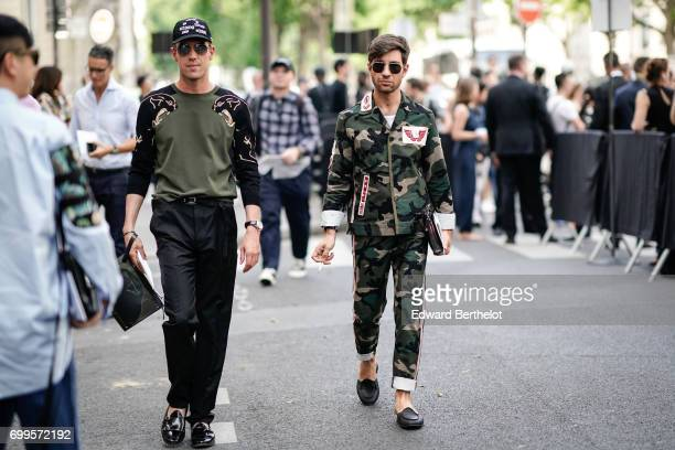 Fiora Filippo and Cirulli Filippo are seen outside the Valentino show during Paris Fashion Week Menswear Spring/Summer 2018 on June 21 2017 in Paris...