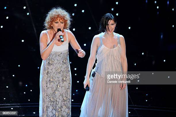 Fiorella Mannoia and Elisa Toffoli attends the 60th Sanremo Song Festival at the Ariston Theatre On February 18 2010 in San Remo Italy