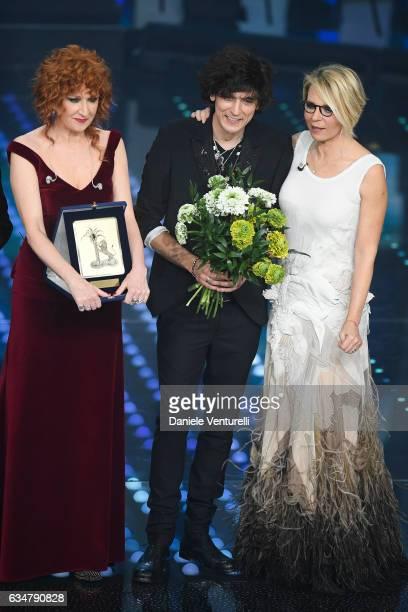 Fiorella Mannoia Ermal Meta winner of the Mia Martini Award and Maria De Filippi attend the closing night of 67th Sanremo Festival 2017 at Teatro...