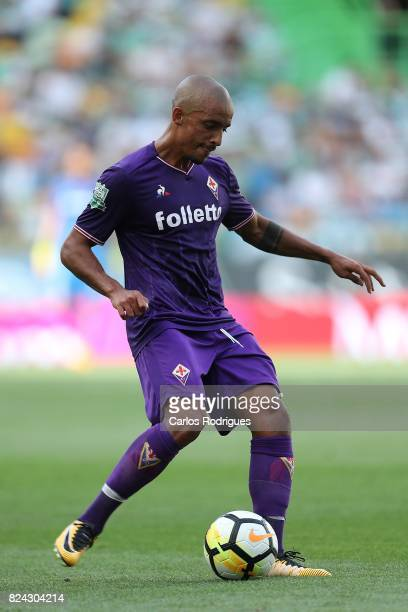 Fiorentina defender Bruno Gaspar from Portugal during the Five Violins Trophy match between Sporting CP and AC Fiorentina at Estadio Jose Alvalade on...