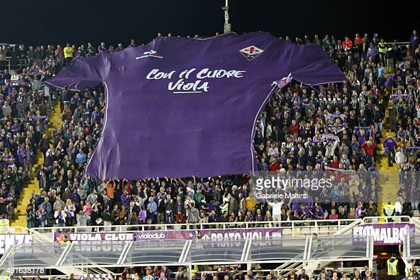 Fiorentina fans show all their cheering during the Serie A match between ACF Fiorentina and Atalanta BC at Stadio Artemio Franchi on October 4 2015...