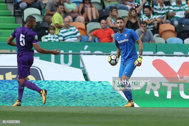 Fiorentina goalkeeper Marco Sportiello from Italy during the Five Violins Trophy match between Sporting CP and AC Fiorentina at Estadio Jose Alvalade...