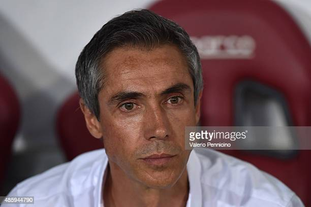 Fiorentina head coach Paulo Sousa looks on prior to the Serie A match between Torino FC and ACF Fiorentina at Stadio Olimpico di Torino on August 30...