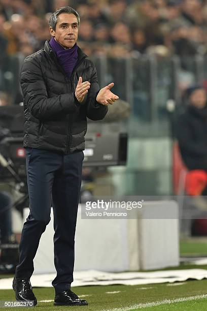 Fiorentina head coach Paulo Sousa reacts during the Serie A match betweeen Juventus FC and ACF Fiorentina at Juventus Arena on December 13 2015 in...