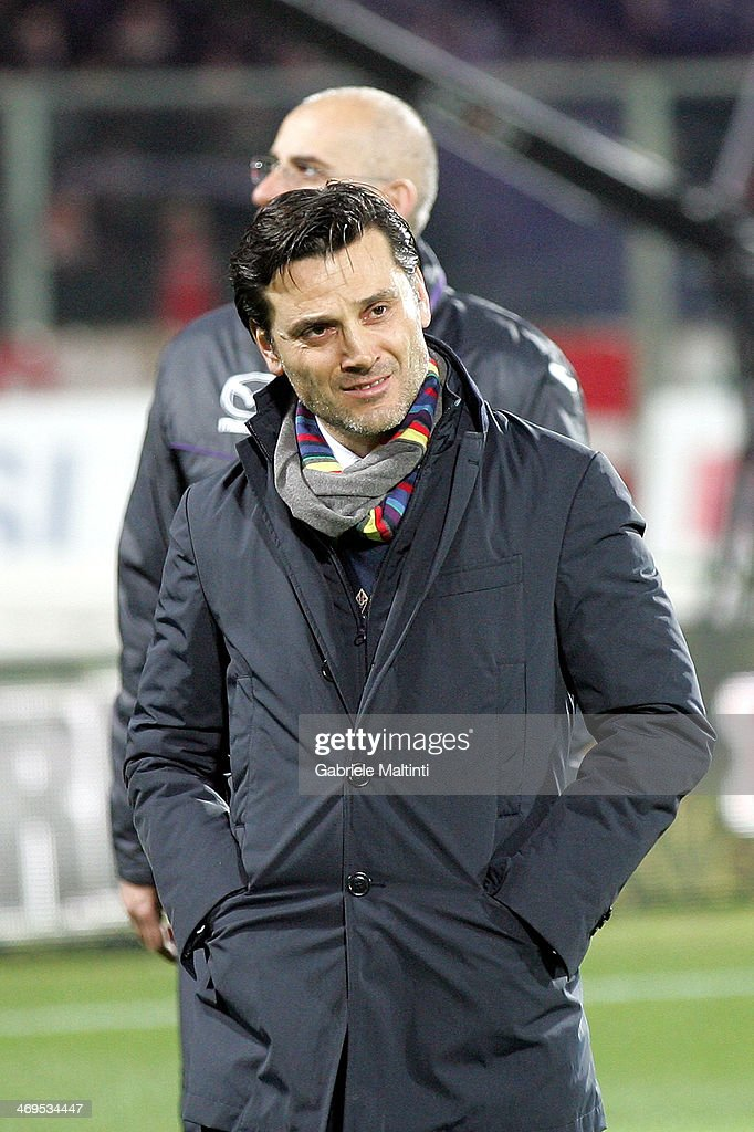 Fiorentina head coach Vincenzo Montella looks on during the Serie A match between ACF Fiorentina and FC Internazionale Milano at Stadio Artemio Franchi on February 15, 2014 in Florence, Italy.