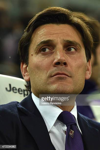 Fiorentina head coach Vincenzo Montella looks on prior to the Serie A match between Juventus FC and ACF Fiorentina at Juventus Arena on April 29 2015...