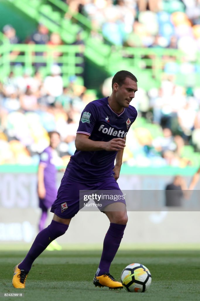 Fiorentina midfielder Sebastian Cristoforo from Urugay in action during the Trophy Five Violins 2017 final football match Sporting CP vs ACF Fiorentina at Alvadade stadium in Lisbon, Portugal on July 29, 2017.