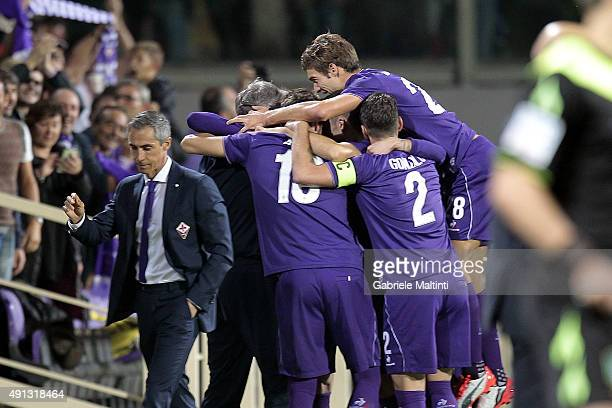 Fiorentina players celebrate a goal scored by Josip Ilicic during the Serie A match between ACF Fiorentina and Atalanta BC at Stadio Artemio Franchi...